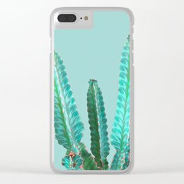 Blue Cactus Clear iPhone Case