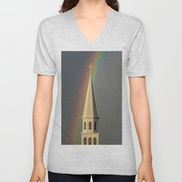 Rainbow & Steeple (Just outside my window) Unisex V-Neck