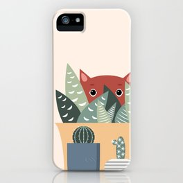 Cat and succulents No1 iPhone Case