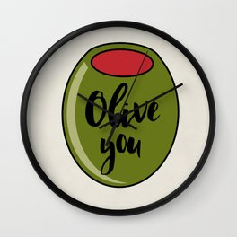 Olive You I Love You Funny Cute Valentine's Day Art Wall Clock
