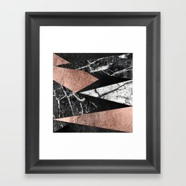Elegant Modern Marble, Rose Gold, & Black Foil Triangles Framed Art Print