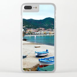 Boats on Beach at Cefalu Italy Clear iPhone Case