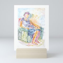 Woman in an armchair 1 watercolor Mini Art Print