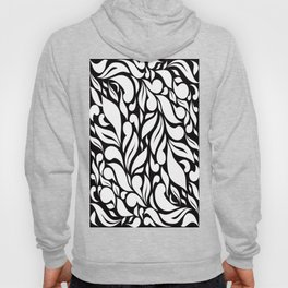 Abstract Leaves - Black and White Hoody