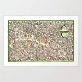 Paris, France City Map Vintage Poster, Eiffel Tower, Notre-Dame, Champs-Elysees, Arc de Triomphe, Latin Quarter Art Print