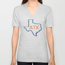 ATX Austin, Texas Retro Neon Lights Unisex V-Neck