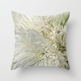 Ivory White Feathery Mums Floral Photo Throw Pillow
