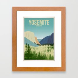 Yosemite National Park - Travel Poster -  Minimalist Art Print Framed Art Print