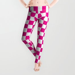 Pink Checkerboard Pattern Leggings