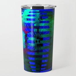 Green Layered Star in Blue Flames Travel Mug