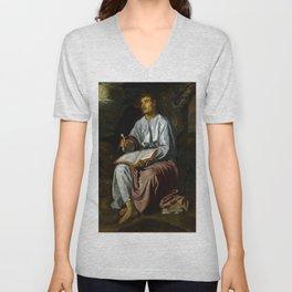"Diego Velázquez ""John the Evangelist from Patmos"" Unisex V-Neck"
