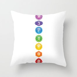7 Chakra Symbols #01 Throw Pillow