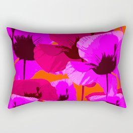 Pink And Red Poppies On A Orange Background - Summer Juicy Color Palette - Retro Mood Rectangular Pillow