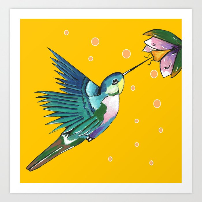 Hummingbird Yellow Art Print