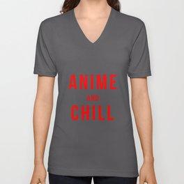 Anime And Chill print | Comic Books Girl Tee Gift Idea Unisex V-Neck