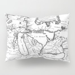 Vintage Map of The Great Lakes (1755) BW Pillow Sham
