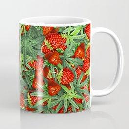 Cannabis and Strawberry Marijuana Floral Pattern Coffee Mug