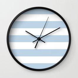 Pale aqua - solid color - white stripes pattern Wall Clock