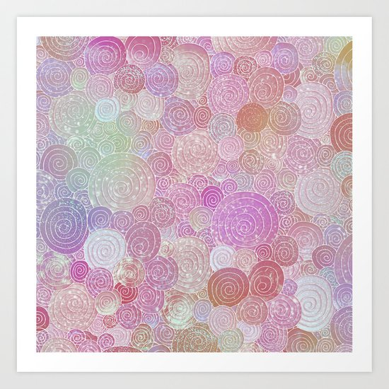 Abstract pink rosegold glamour glitter circles for ladies on #Society6 Art Print