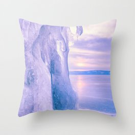 Ice cliff of Lake Baikal Throw Pillow