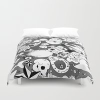 tattoos Duvet Covers featuring Teddy Tattoos BW by TheBleepBloopShop