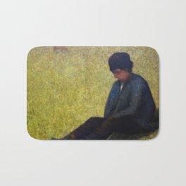 Boy Sitting in a Meadow Bath Mat
