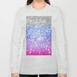 Galaxy Sparkle Stars Periwinkle Pink Long Sleeve T-shirt