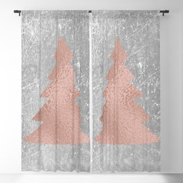 Industrial rose christmas - tree Blackout Curtain