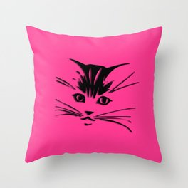 Hot Pink Kitty Cat Face Throw Pillow