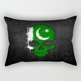 Flag of Pakistan on a Chaotic Splatter Skull Rectangular Pillow
