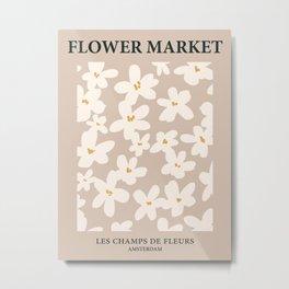Flower market print, Amsterdam, Neutral art print, Beige flowers, Light academia posters aesthetic, Boho Metal Print