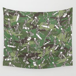 Grim Ripper Skater Camo WOODLAND GREEN Wall Tapestry