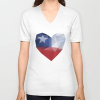 chile V-neck T-shirts featuring Chile Heart by Favio Torres
