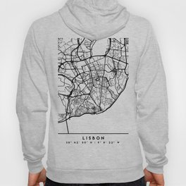 LISBON PORTUGAL BLACK CITY STREET MAP ART Hoody