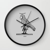 birdy Wall Clocks featuring Birdy by Orit Kalev