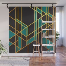 Art Deco Off Line In Turquoise No. 2 Wall Mural