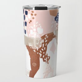 Sonia - rose gold navy copper modern abstract rosegold trendy pattern cell phone accessories Travel Mug
