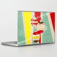 card Laptop & iPad Skins featuring CHRISTMAS CARD by mark ashkenazi