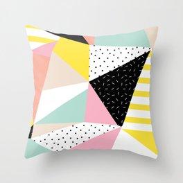 80s Retro Geometric Pattern Throw Pillow