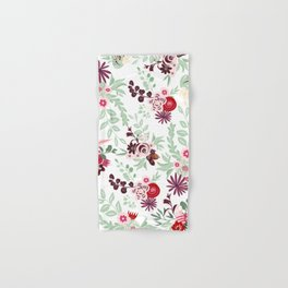 Abstract red pastel green pink country floral pattern Hand & Bath Towel