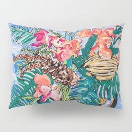 Tropical Banksia Bouquet after Matisse in Greek Boar Urn on Pale Painterly Blue Pillow Sham
