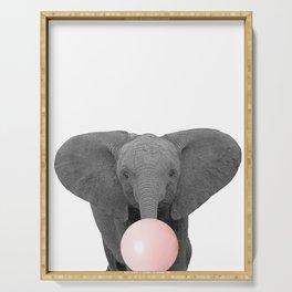 pink bubblegum baby elephant Serving Tray