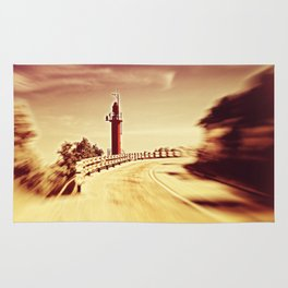 Lighthouse on the road Rug
