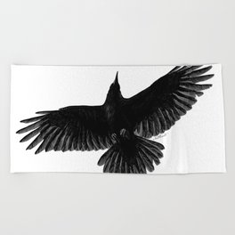 Crow In Flight illustration Beach Towel