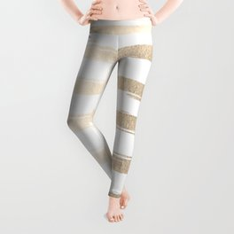 Simply Brushed Stripes White Gold Sands on White Leggings