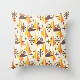 Mid Century Modern Cosmic Boomerang 726 Brown Orange and Yellow Throw Pillow