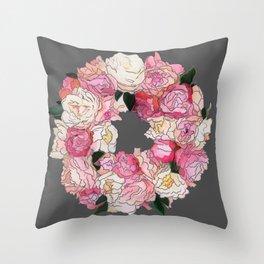 Peony Wreath Painting (dab grey)Feng Shui Throw Pillow