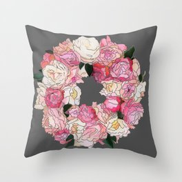 Peony Wreath Painting (dab grey)Feng Shui Throw Pillow