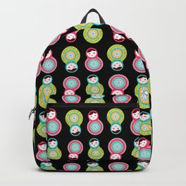 dolls matryoshka on black background, pink and blue colors Backpack