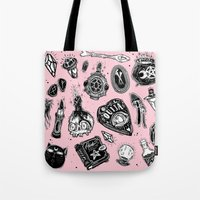 loll3 Tote Bags featuring Witchy  by lOll3